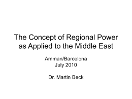 The Concept of Regional Power as Applied to the Middle East