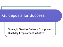 Guideposts for Success - Disability Employment Initiative