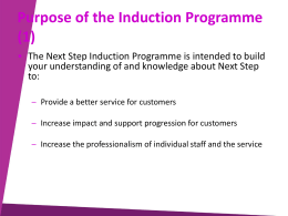 Purpose of the Induction Programme (1)