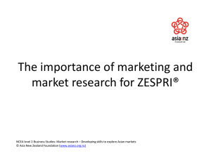 Importance of Marketing and market research for Zespri