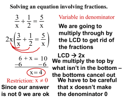Solving Algebraic Fraction Equations and Proportions