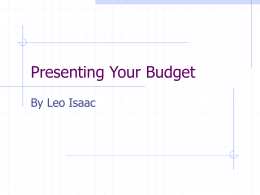 Presenting Your Budget