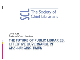 The Future of public libraries: Effective governance in