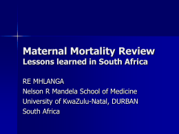 Maternal Mortality Review - UNC Gillings School of Global Public