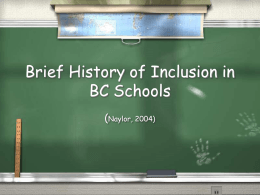 Inclusion in BC Schools