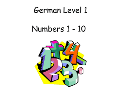 German Early Level Numbers