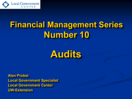 Audits - UW-Extension`s Local Government Center