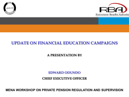 Update on Financial Education Campaigns