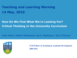 Critical Thinking - University College Dublin