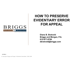 HOW TO PRESERVE EVIDENTIARY ERROR FOR APPEAL Diane