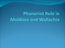 Phanariot Rule in Moldova and Wallachia