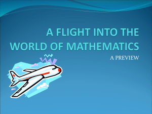 A FLIGHT INTO THE WORLD OF MATHEMATICS