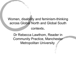 Women, disability and feminism-thinking across Global North and