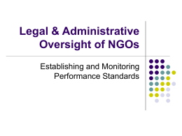Legal & Administrative Oversight of NGOs