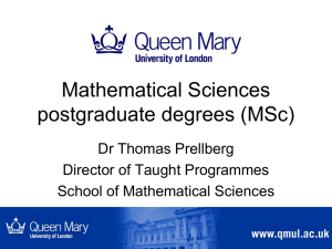 MSc - School of Mathematical Sciences