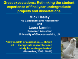 Rethinking final year projects and dissertation