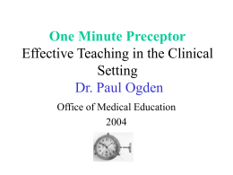 One Minute Preceptor - Healthcare Professionals