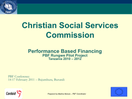 PPP situation in Tanzania - Performance Based Financing