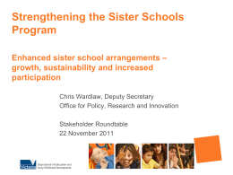 Strengthening the Sister Schools Program
