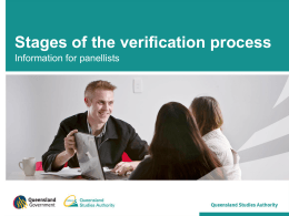 Stages of the verification process