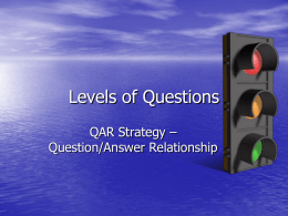 QAR levels of questions