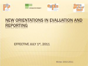 New Orientations in Evaluation and Reporting