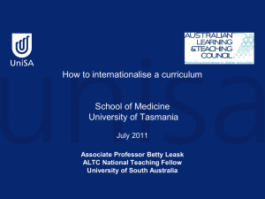How to internationalise a curriculum, School of Medicine, University