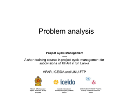 Project Cycle Management - United Nations University Fisheries