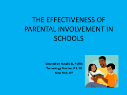 THE EFFECTIVENESS OF PARENTAL INVOLVEMENT IN