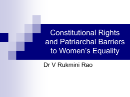 Constitutional Rights and Patriarchal Barriers