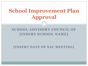 School Improvement Plan Approval - the School District of Palm