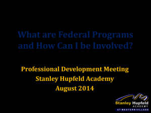 Federal Programs - Stanley Hupfeld Academy at Western Village