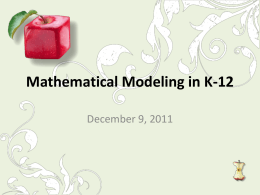 Mathematical Modeling in Elementary School