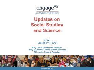 Update on Social Studies & Science