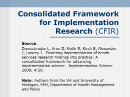 Consolidated Framework for Implementation Research