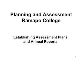 Establishing Assessment Plans and Annual