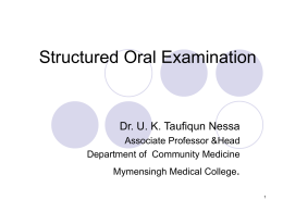 Structured Oral Exam - Mymensingh Medical College