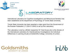 Laboratory for Cognitive Investigations and Behavioural