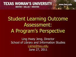 Student Learning Outcome Assessment: A Program`s Perspective