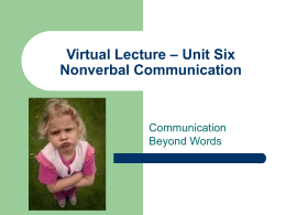 Unit Six Nonverbal Communication