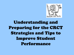 Preparing for the CRCT - Cobb County School District
