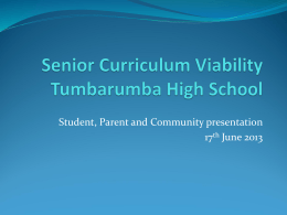Parent Presentation - Tumbarumba High School