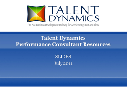 Talent Dynamics Performance Consultant Training