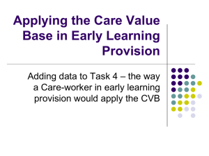 Applying the Care Value Base in Early Learning Provision