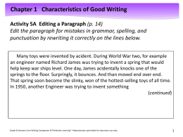 Activity 5A Editing a Paragraph (p. 14)