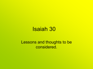 Powerpoint - Lessons from Isaiah 30