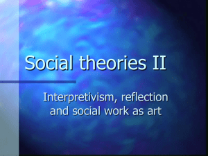 Social theories II – Lecture Two