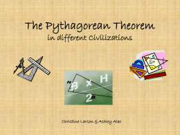 The Pythagorean Theorem in different Civilizations