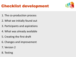 Checklist development