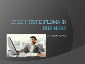 BTEC First Diploma in Business Presentation